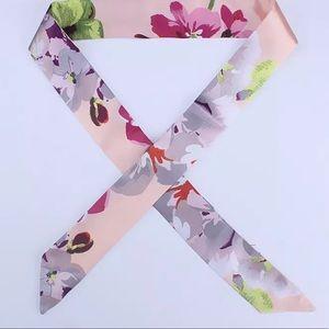 2pc Pink Flower Silk Scarf Bandeau Handbag Twilly